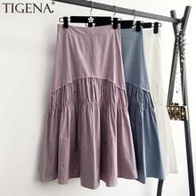 TIGENA Cotton Pleated Skirt Women Fashion 2021 Summer Casual Solid A Line High Waist Midi Long Skirt Female Black White Purple