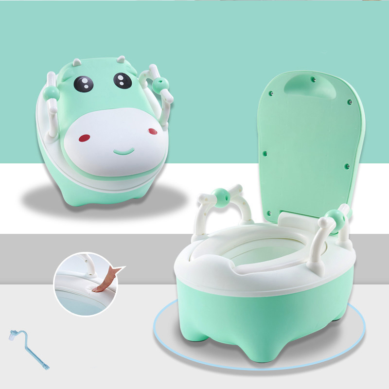 Portable Baby Pot Cute Cow Shaped Toilet Seat Pot For Kids Potty Training Seat Children's Potty Baby Travel Training Toilet