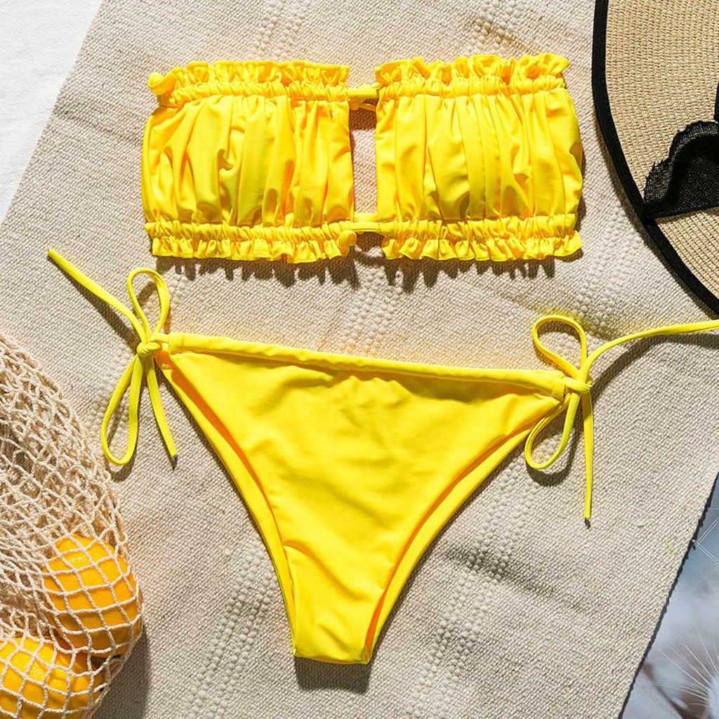 2 pezzi Sexy off-spalla del Costume Da Bagno Push-Up Imbottito Reggiseno A Righe di Stampa Costume Da Bagno cravatta di colore Solido Costumi Da Bagno Della Tuta traje de baño muje