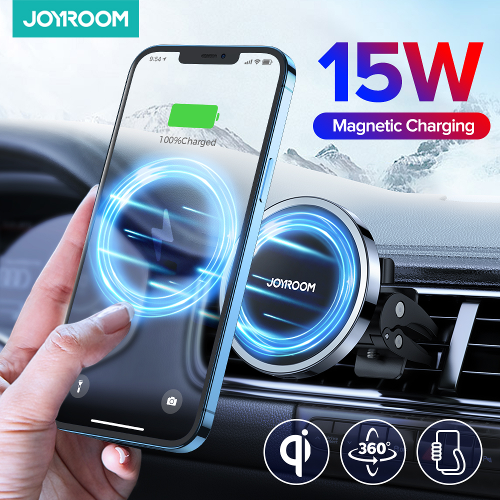 Magnetic Wireless Charger Car Phone Holder 15W Qi Fast Charging Car Mount for iPhone 12 11 Pro Max XR Xs Samsung S9 S10 Joyroom