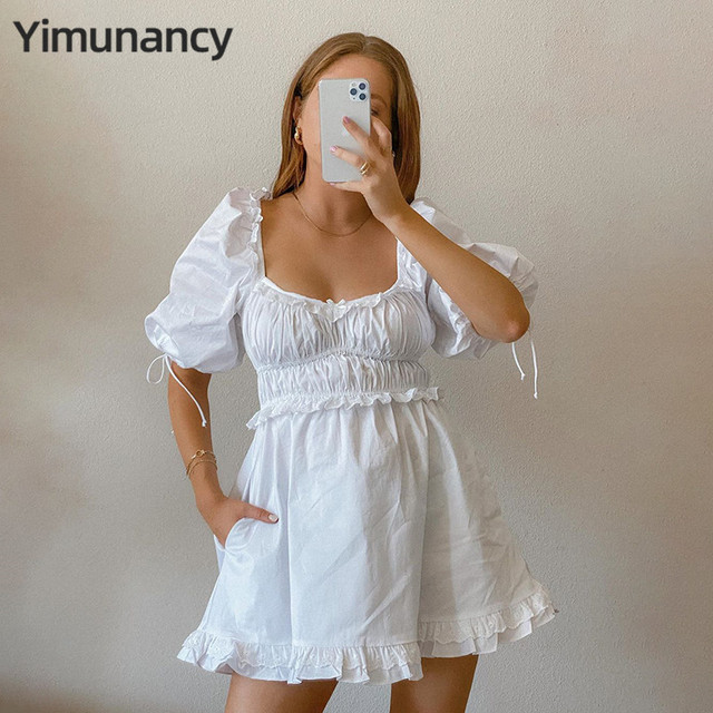 Yimunancy Ball Gown Dress Women Holiday Sweet Dress 2020 Summer Ladies French Style Chic Ruched Puff Sleeve Party Dresses 2