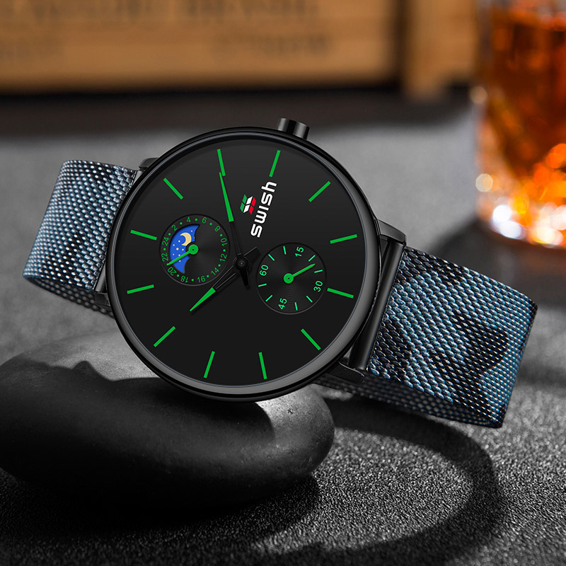 Image 3 - SWISH Watches Men 2019 Mens Watches Top Brand Luxury Quartz Watch Waterproof Camouflage Stainless Steel Strap-in Quartz Watches from Watches