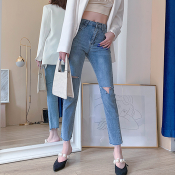 New 2020 Women Summer Denim Jeans Casual Trousers Straight Denim Ripped Tassel HOLE Pockets Jeans Pants CF037 new fashion jeans for women personality tassel hole denim ankle length pants casual female jeans straight trousers autumn