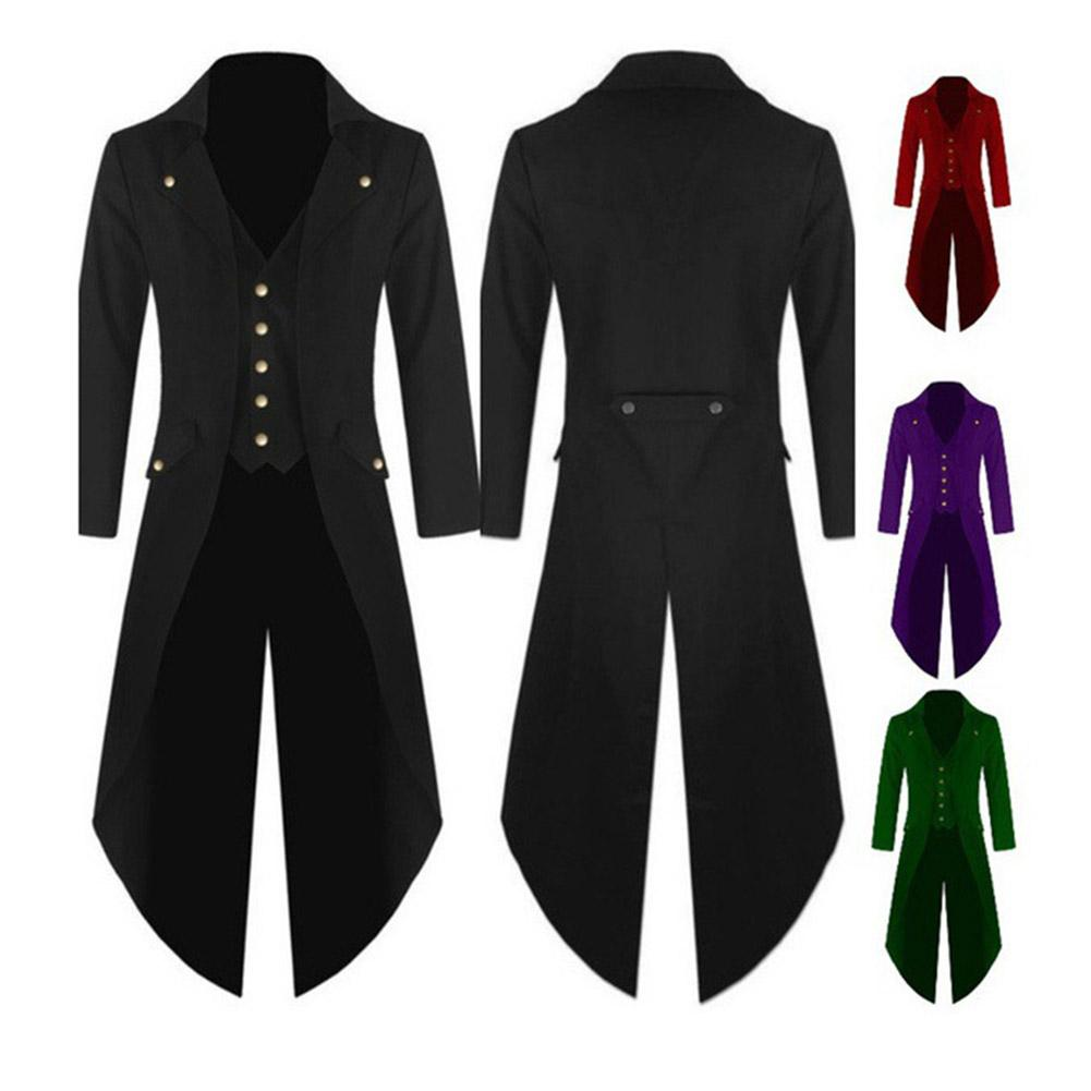 Men Solid Color Blazer Retro Gothic Button Tailcoat Formal Blazer Black Red Green Purple Jacket Tuxedo Party Veste Costume Homme
