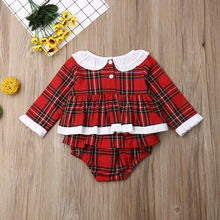 Christmas Baby Girl Red Plaid Romper Dress
