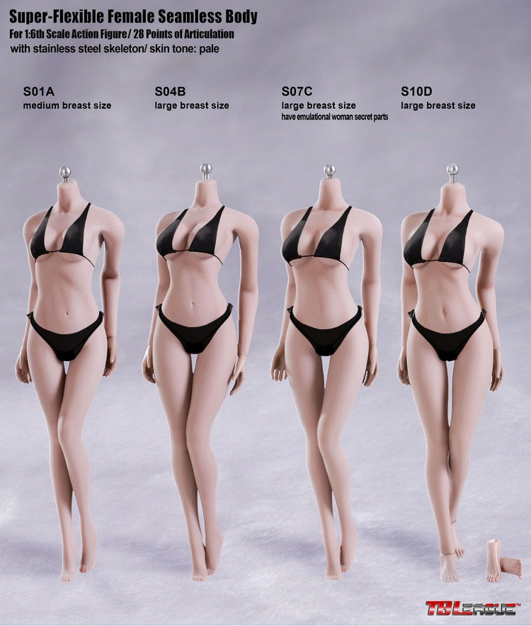 1//6 PHICEN S10D Female Seamless PALE Figure Body L Bust Steel Skeleton TBL USA