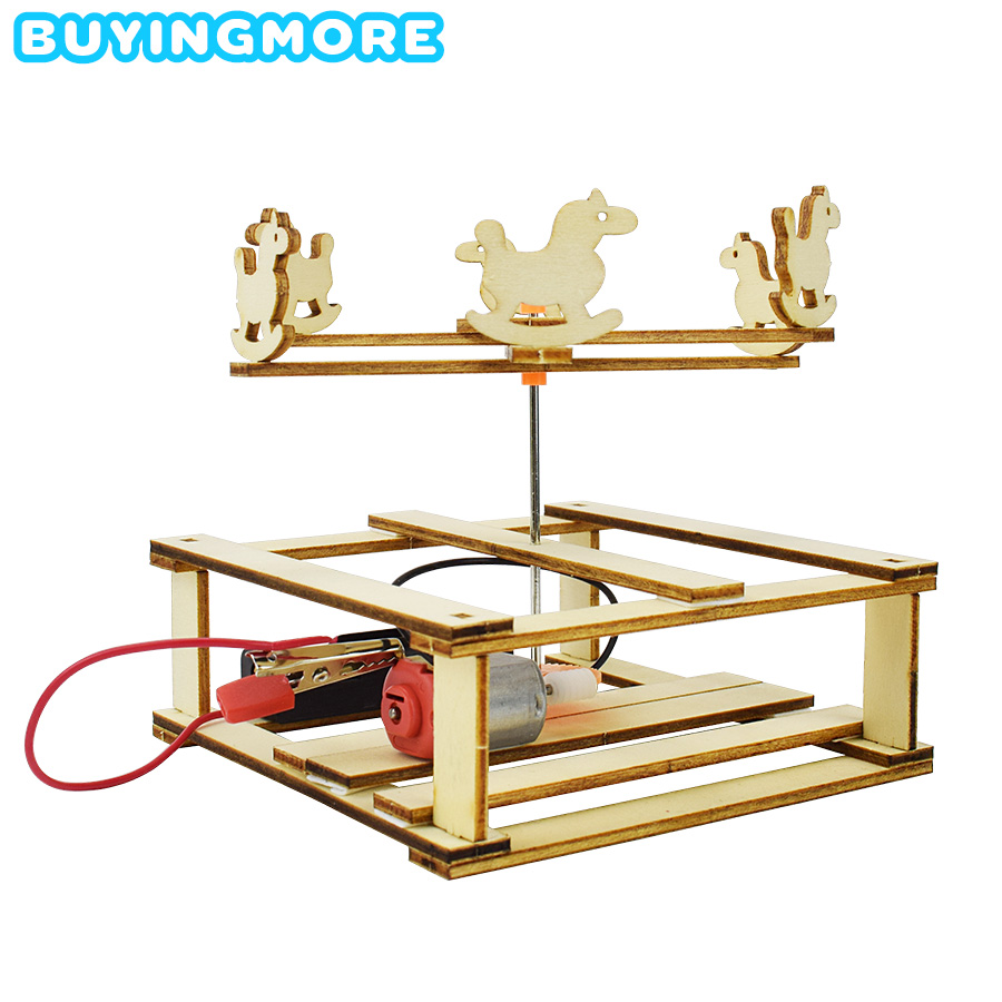 Merry-go-round Model DIY Kit Science Toys For Children Hand-assembled Healthy Wooden Model Kit Creative Physics Educational Toys