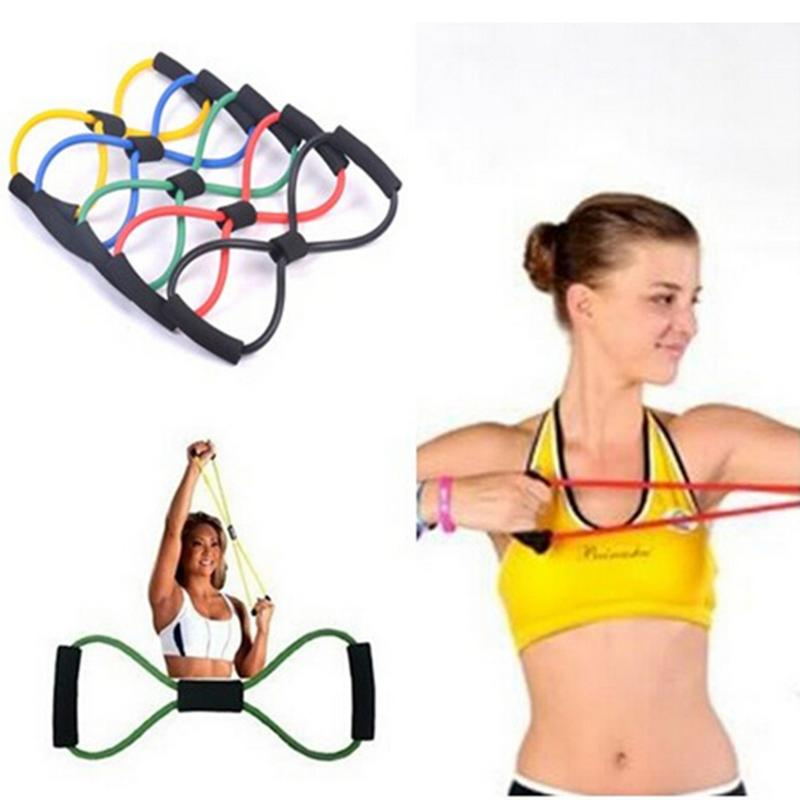 1pcs Hot Sale Yoga 8 Shape Pull Rope Fashion Fitness Tool Resistance Training Band Exercise Workout Fitness Equipment