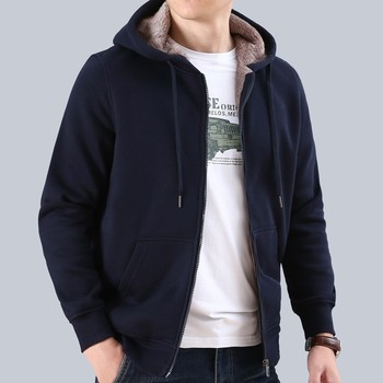 Casual Thick Fleece Lining Mens Winter Warm Sweatshirt Fashion Long Sleeve Open Stitch Streetwear Male Hooded Jackets Plus Size