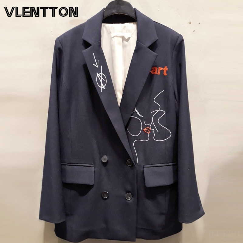 2020 Spring Autumn Vintage Letter Embroidery Blazer Jacket Women Chic Pockets Suit Coat Female Tops Elegant Office Blazers Mujer