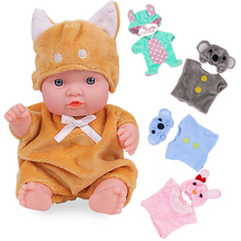 8 Inch Full Body Silicone Dolls Baby Toys For Kids Nice Clothes Suit Girl New Born Baby Items Toys For Children Birthday Gift fashion silicone baby doll with clothes brown eyes new 15 inch dolls toys for girl kids birthday gift free shipping