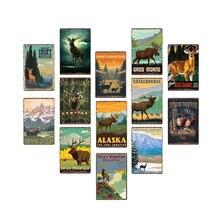 Металлический постер с мультяшными животными оленем винтажный