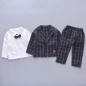 Image 4 - Çocuk kravat Blazer resmi pamuk beyefendi rahat giyim bahar sonbahar bebek erkek kız ceket T Shirt pantolon 3 adet/takım bebek seti