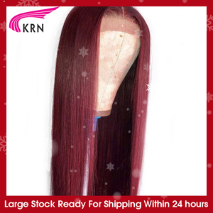 KRN 99J Ombre Pre Plucked 13x4 Lace Frontal Human Hair Wigs With Baby Hair Straight remy Hair Brazilian Lace Wigs 180 density(China)