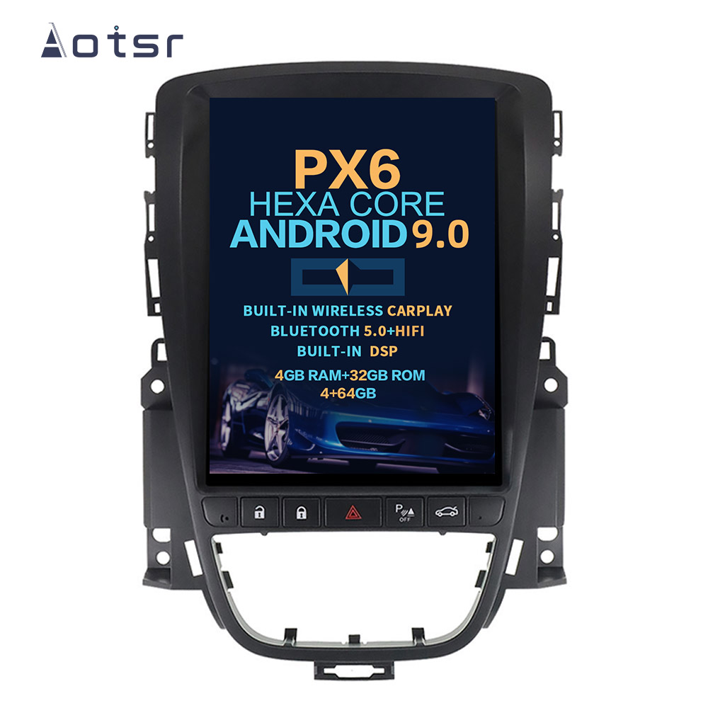 AOTSR Tesla Screen Android 9 Car Radio For Opel Astra J 2010 - 2013 Multimedia Player GPS Bluetooth DSP PX6 Carplay AutoRadio