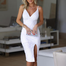White Sequin vestido slit Short Cocktail Dresses Party Graduation Women Sexy Prom Robe Semi Formal Dress(China)