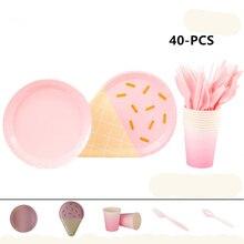 40* шт сплошной Цвет одноразовая посуда детская Праздничная посуда вечерние Baby Shower вечерние поставки, пластина+ Бумага чашка+ вилка+ ложка