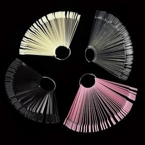 Nail Tools 50 Pcs Fan-shaped Nail Polish Swatches Practice Nail Plate Display Plate Fan-shaped Color Card Sample
