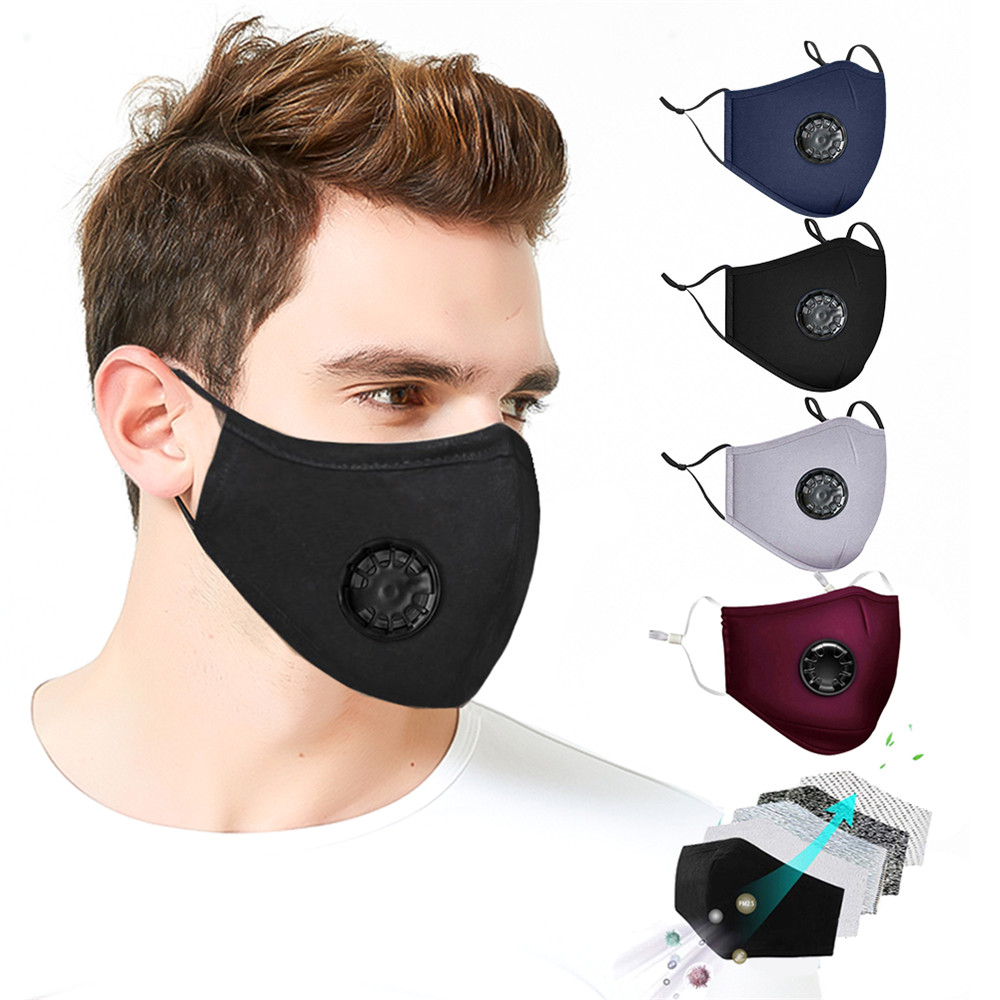 Reusable Washable Face Masks With10 Replaceable Pm2.5 Filter Mouth Mask Anti Dust Windproof Cotton Valve Respirator Unisex