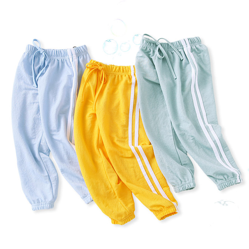 2020 Summer Kids Leggings Boys Girls Thin Anti Mosquito Pants Candy Color Cotton Bloom Pants Trousers Baby Pajama WZFS171