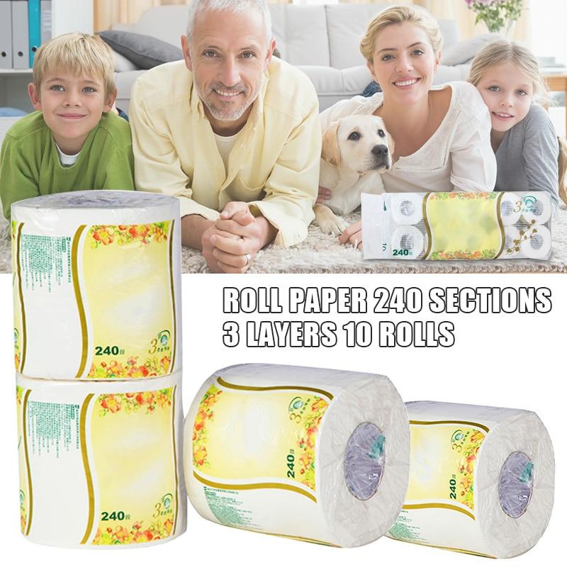 10 Rolls Toilet Paper Tissue 3 Layer White Soft Skin-Friendly For Bathroom Home H9