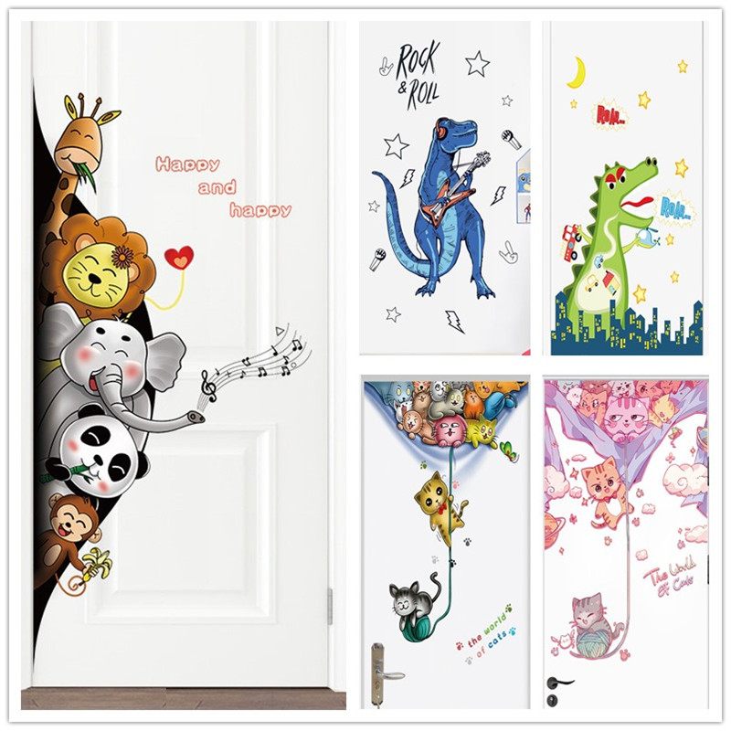 Cartoon Animals Door Decorative Stickers Cute Panda Cats Elephant Wallpaper For Kids Room Bedroom Nurnery Vinyl Home Decor Mural