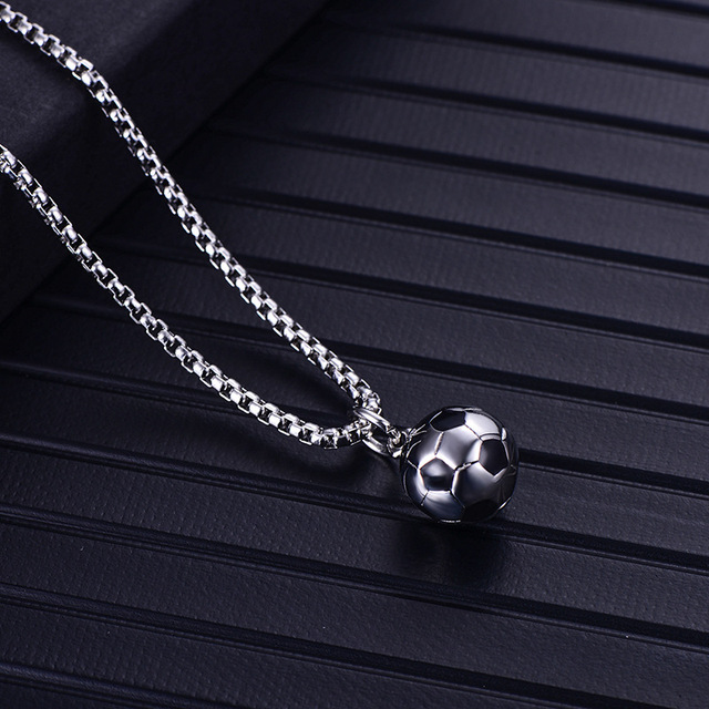 Men Hip hop Football  Pendant Necklaces Stainless Steel never fade male fashion pendants necklace HipHop jewelry gifts