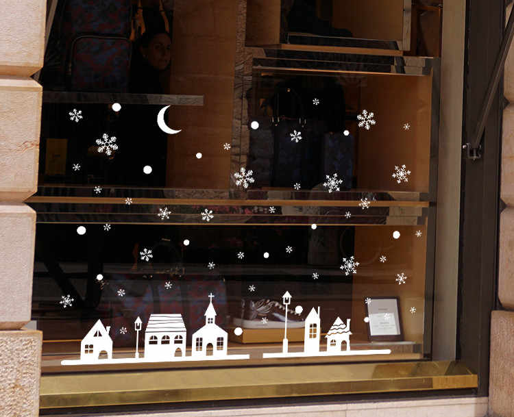 Рождественский магазин окно украшение стены стикеры, рождественские снежинки город дома наклейки украшения Новый год обои