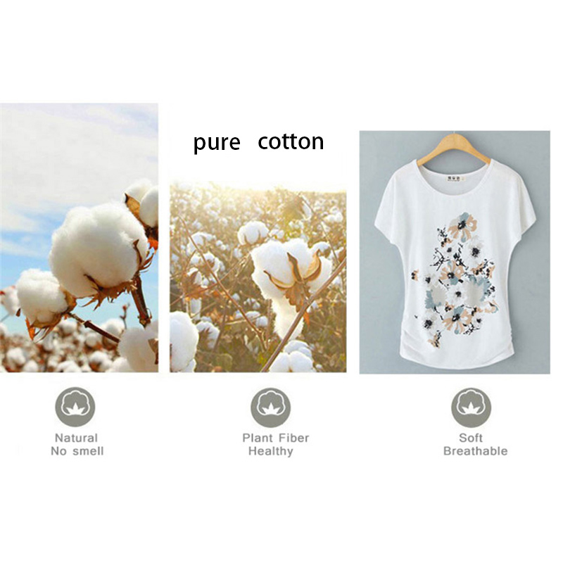 He5ac3c800537496e8dc5c9f8c2bc92a04 - Summer Female T Shirt New arrive Women's printing Short-sleeve White Cotton T-shirt women Loose Batwing Sleeve O-neck T-Shirt