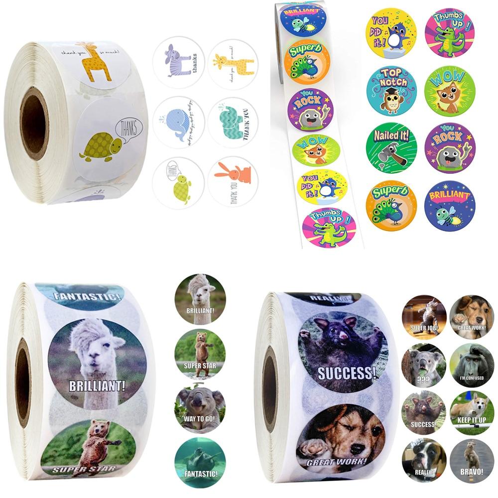 500 Pcs/roll Reward Stickers for Teachers Fun Motivational & Incentive Stickers for Kids Trendy Anim