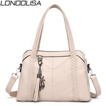 White Ladies Genuine Leather Tassel Hand Bags Luxury Handbag