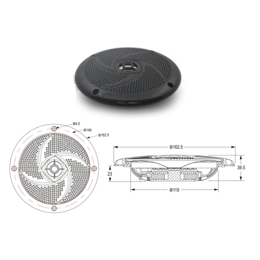 6.5 Inch Waterproof Marine Boat Audio Stereo Speakers Round Flush