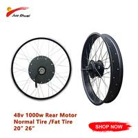 48v1000W Electric Bike Motor Wheel 20 26 Wheels Fat or Normal Tire Max Speed 50km/hBrushless Hub Motor Ebike Free Shipping