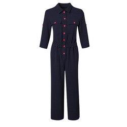 Vrouwen 2019 herfst nieuwe mode revers cropped mouwen herfst sectie jumpsuit