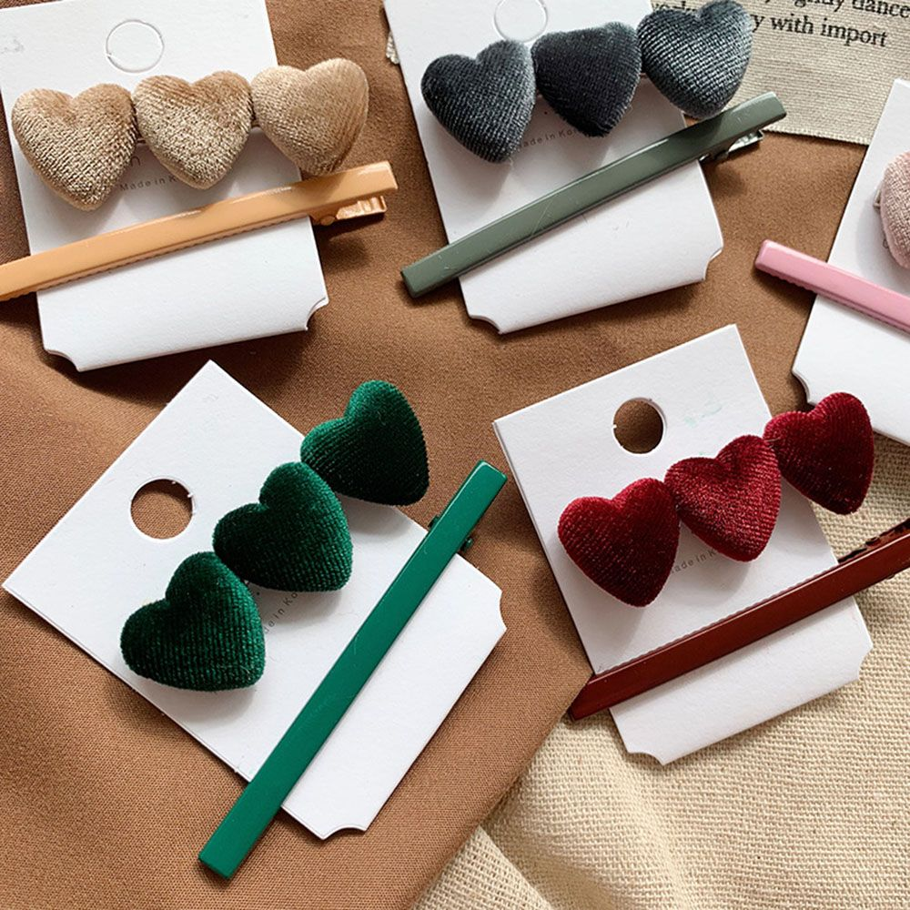 New Fashion 1 Set Vintage Velvet Lovely Hairpin Set Korea Heart Shape Hair Clip Barrettes Fashion Hairpin Women Hair Accessories