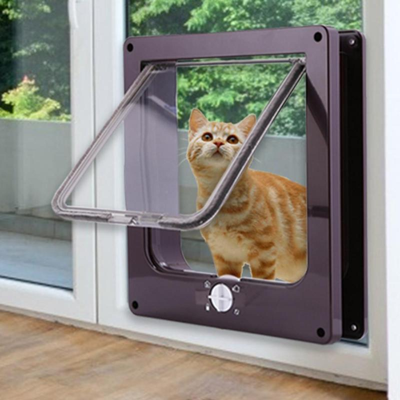 4 Way Lockable Puppy Cat Door ABS Plastic Security Gate Cat Dog Flap Door For Dog Cat Pet Gate Door Pet Supplies