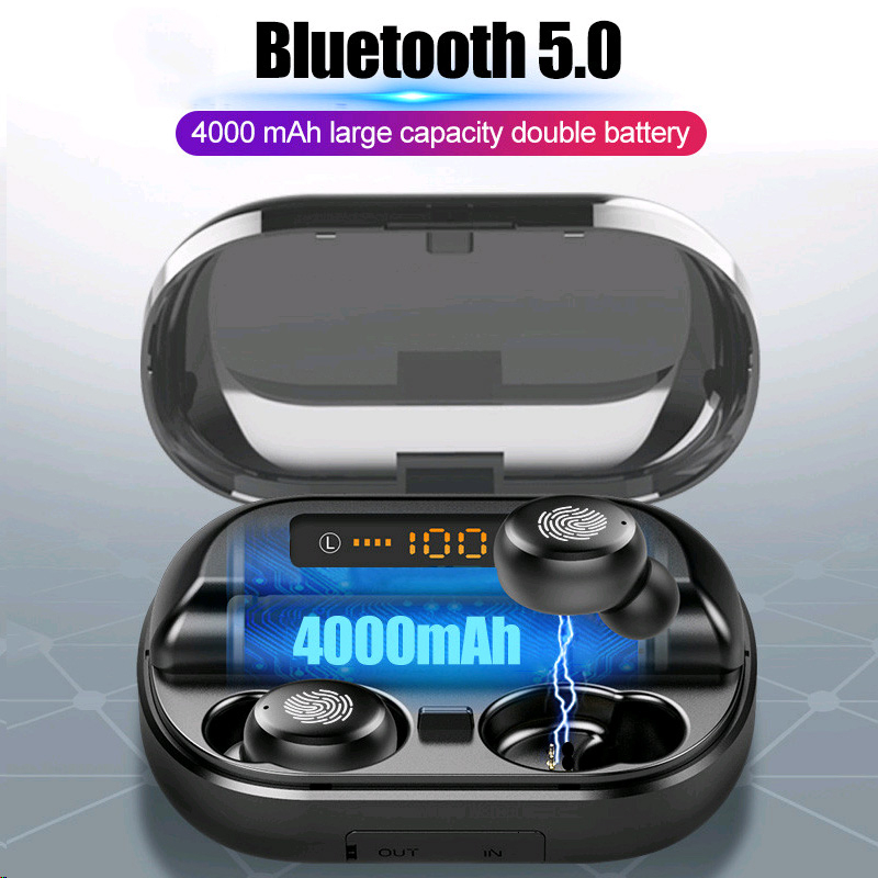 <font><b>5</b></font> 0 9 7 4000 4 H A <font><b>TWS</b></font> . Bluetooth D Stereo Oortephone Wireless IPX Waterproof Earphones Sport Headphones With mAh Power image