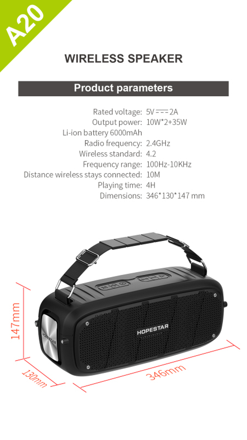 Ultra-high-power 55W bluetooth speaker Ultra-large portable column subwoofer with mobile power 6000mAh, with microphone Boom box 6