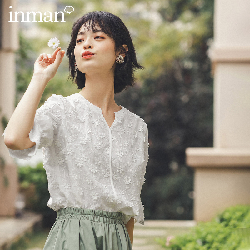 INMAN 2020 Summer New Arriavl Literary Round Collar Pure Cotton Emboidered Sweet Blouse