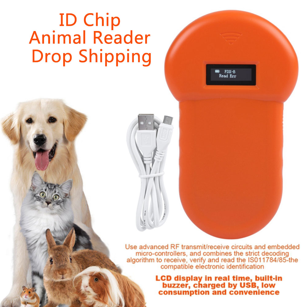 Microchip-Scanner Tag For Dog Cat Lcd-Screen Id-Card-Reader Lcd-Display Barcode USB Animal