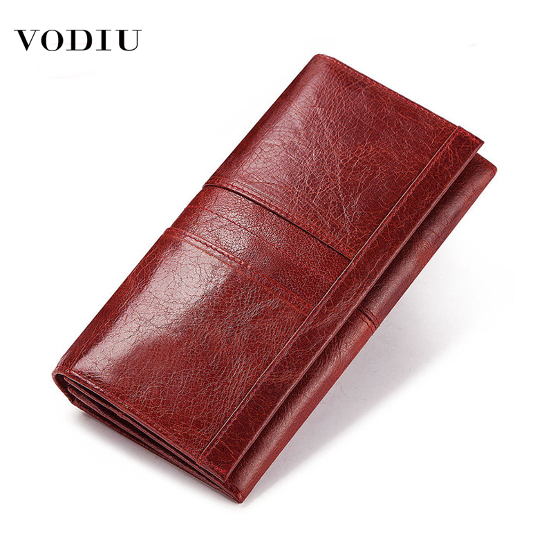 Genuine Leather Women Wallet Hasp Long Multi Card Holder Key Coin Purse Female Clutch Large Capacity Anti-theft Phone Bag Purses