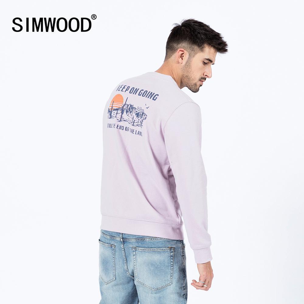 SIMWOOD 2020 spring new hoodies men back print long sleeve plus size sweatshirt o-neck jogger fashion tracksuits SJ170219