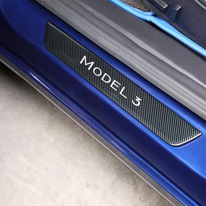 Автомобильные накладки на пороги из углеродного волокна, защитные наклейки из углеродного волокна, модифицированное украшение на дверь автомобиля, защитный комплект из настоящего углеродного волокна