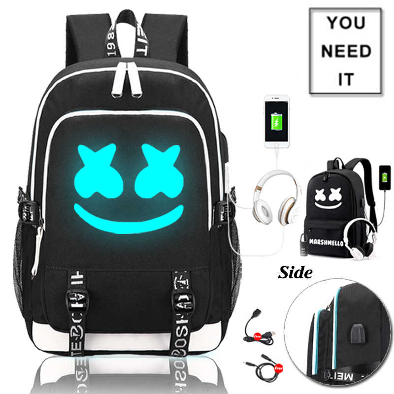 DJ Marshmellow School Bag for Teenage Boys Girls Luminous Book Bag Casual Student Backpack School Gifts for Kids Back to College