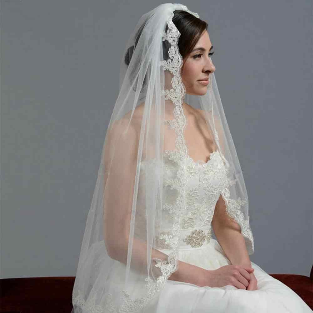 Beyaz fildişi 1 katmanlı düğün peçe dantel kenar düğün aksesuarları gelin peçe ile tarak 85cm uzunluk