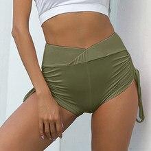 Mulheres de alta elastic yoga shorts fitness desenho corda enrugamento correndo shorts senhoras verão esportes dança shorts malha saia