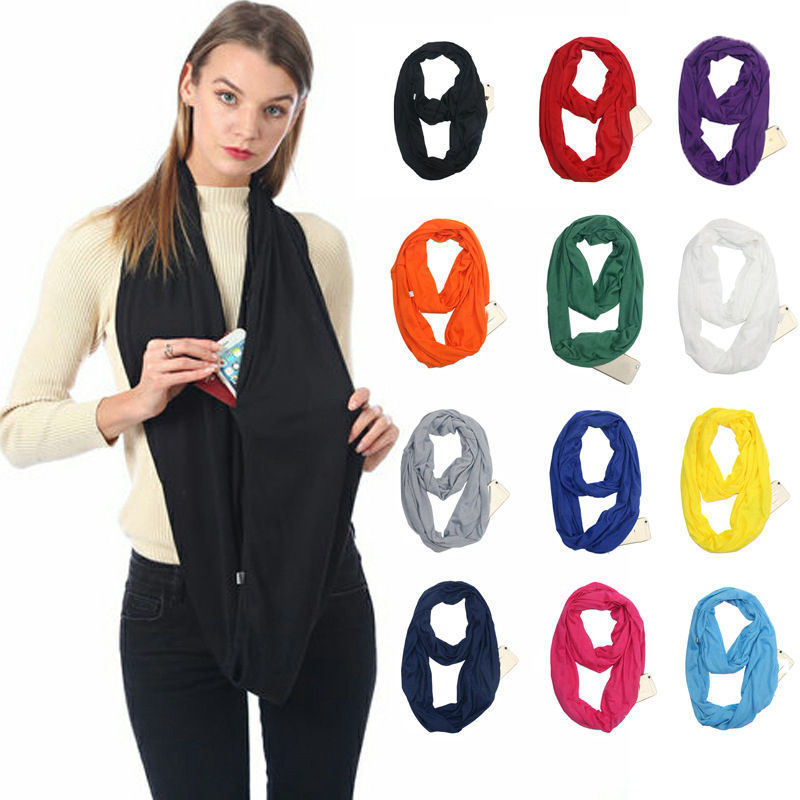Hot Sell Scarf Convertible Women Plain Loop Summer Spring Scarfs Fashion Shawl Scarves