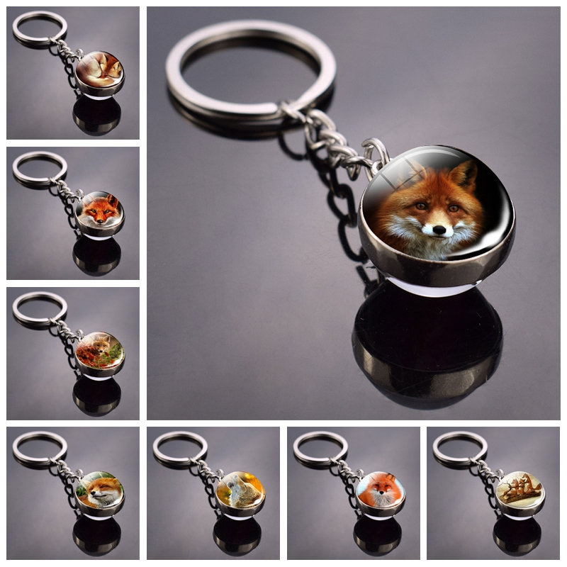 Fox Keychain Lovely Fox Picture Glass Ball Keychain Double Side Cabochon Glass Metal Keyring Christmas Gift For Men For Women