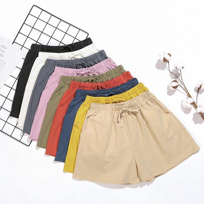 New High Waist Women Shorts Casual Streetwear Cotton Linen Elastic Waist Shorts Wide Leg Cotton Shorts Summer Short Femme