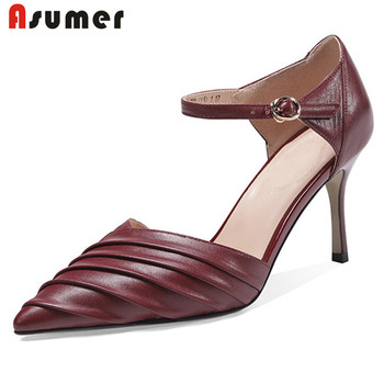 ASUMER 2020 new arrive women pumps genuine leather shoes pointed toe buckle summer thin high heels party wedding shoes ladies